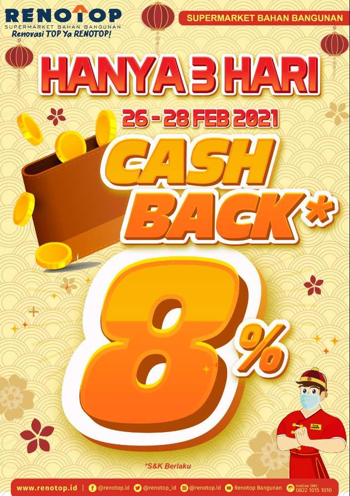 Image SPECIAL! HANYA 3 HARI CASHBACK 8% DI RENOTOP